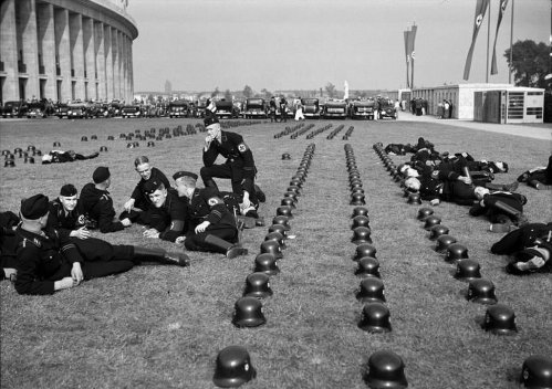 German SS troops relaxing at the 1936 Olympic games in Berlin