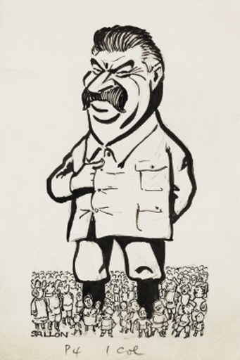 An ink cartoon of Josef Stalin (1879-1953), drawn by an unknown artist for the Daily Herald newspaper, in about 1935. A giant Stalin towers over a crowd of tiny people - a caricature of the total control Stalin had over the Soviet Union during his dictatorship. The drawing also satirises Stalin's use of propaganda. He commissioned paintings and sculptures for display across the country, showing him meeting happy people, befriending children - and appearing taller and more handsome than in reality.  Stalin was in power for almost thirty years - from the late 1920s to his death in 1953 - ruthlessly eliminating his rivals through terror campaigns. His agricultural reforms resulted in widespread famine - and the death of millions of people.  This drawing has been selected from the Daily Herald Archive, a collection of over three million items. The archive holds work of international, national and local importance by both staff and agency photographers.