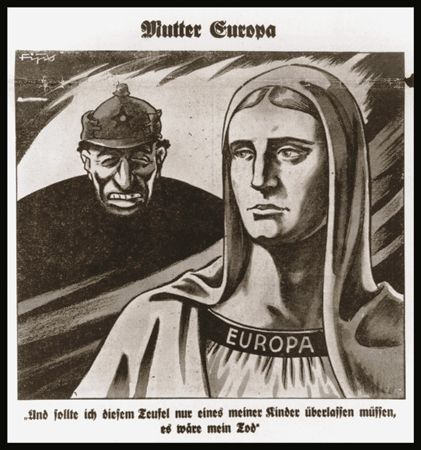 Caricature on the front page of the Nazi publication, Der Stuermer, depicting the Jew as the devil threatening Mother Europe